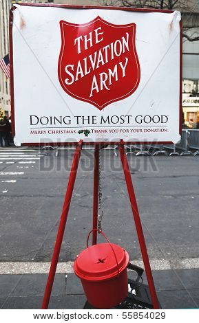 Salvation Army red kettle for collections in midtown Manhattan