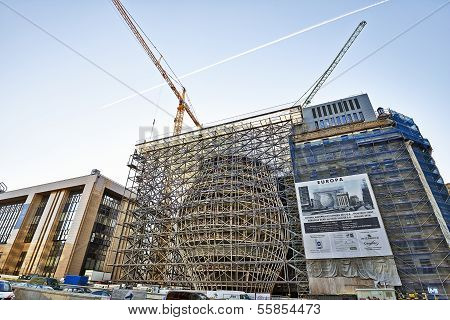 BRUSSELS BELGIUM - DECEMBER 10: The Europa building construction on december 10 2013 in Brussels. Europa building is the new headquarters of the European Council and the Council of the EU poster