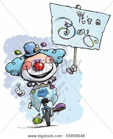 Clown On Unicycle Holding An It's A Boy Placard