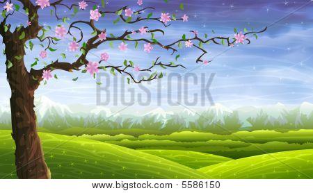 Summer Fairy-tale Tree Over Rolling Landscape