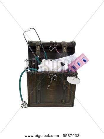 Antique Trunk Of Medical Tools