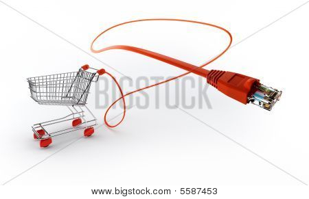 Shopping Cart With Network Cable