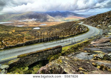 Road In Hills Of Dingle Peninsula