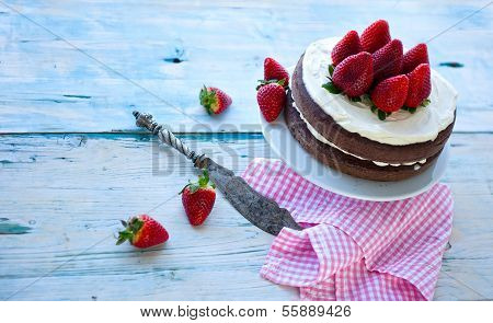 Delicious Homemade Cake With Strawberries (sugar-free) Background, Isolated