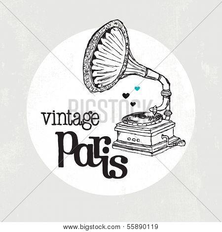 Vintage gramophone paris jazz postcard cover design illustration in vector