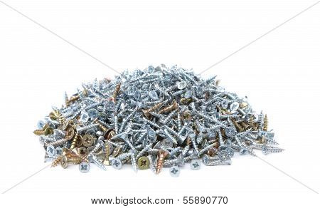 Zinked and anodized screws. Isolated on a white background. poster