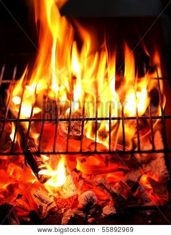 Blazing fire in Grilled. Close up.