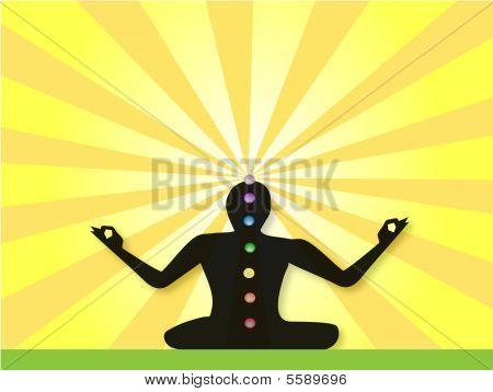 Yogi Meditating In Lotus Posture