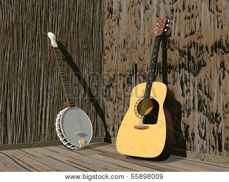 Banjo and guitar- 3D render