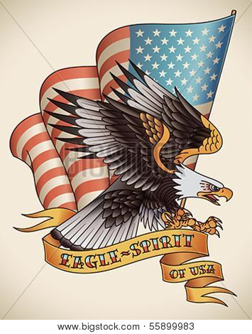 Bald eagle attacking with the flag of USA on the background. Old-school tattoo design. Editable vector illustration.