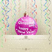 Christmas card with hanging bauble and ribbons on the light snow background poster