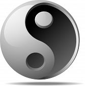 Ying-yang Sign on White Background Vector Illustration poster