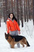 Teen girl with dog.Near Kiev,Ukraine  poster