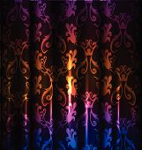 Neon curtains background, realistic with lights effect poster
