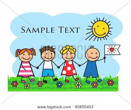 Cartoon kids go through the grass and holding hands