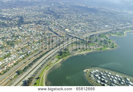 Aerial View Of Mission Bay, San Diego