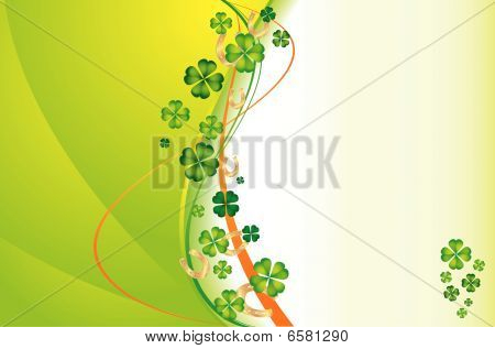 Background With Clovers And Gold Horseshoes