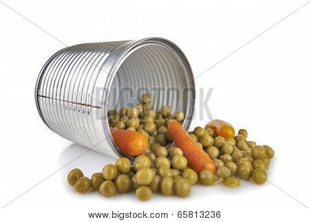 a tin of peas and carrots on white background poster