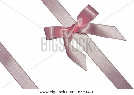 pink diagonal ribbon with bow isolated on white poster