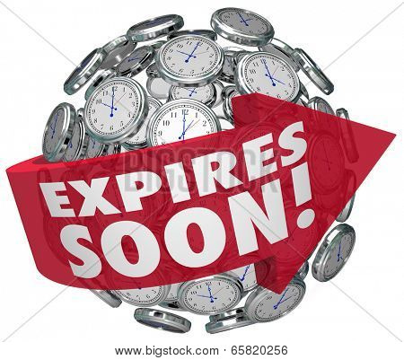 Expires Soon words clock sphere limited time offer, sale discount event ending deadline