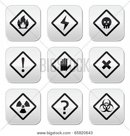 Danger, risk, warning buttons set