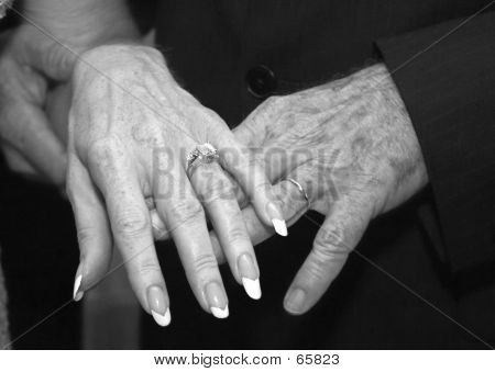 Mature Wedding Hands B&W
