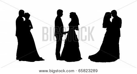 Bride And Groom Silhouettes Set 1