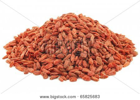 bunch of dried goji berries (Lycium Barbarum - Wolfberry) on white background