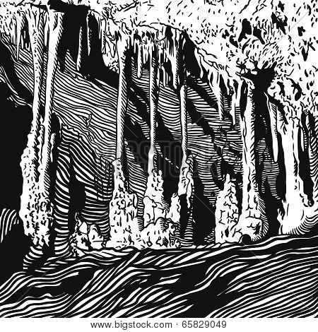 Vector illustration karst cave, stalactite, stalagmite, column