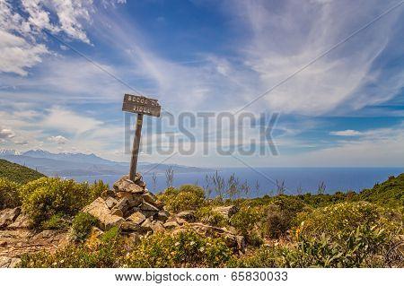 Signpost For Bocca Di Violu On Cap Corse In Corsica
