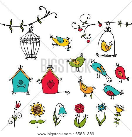 set of cute birds, tree and bird's nesting boxes