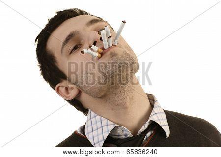 Man Whose Breaking Cigarettes