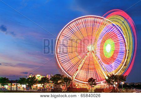 Amusement park at dusk