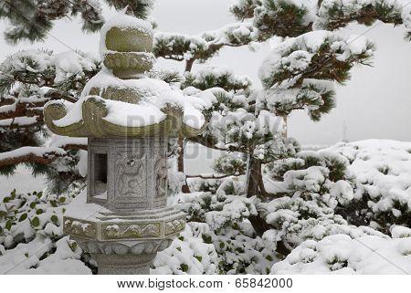 Japanese Stone Lantern Snow