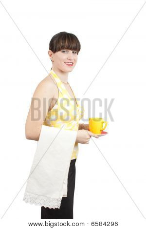 Bartender Girl With A Cup Of Coffee