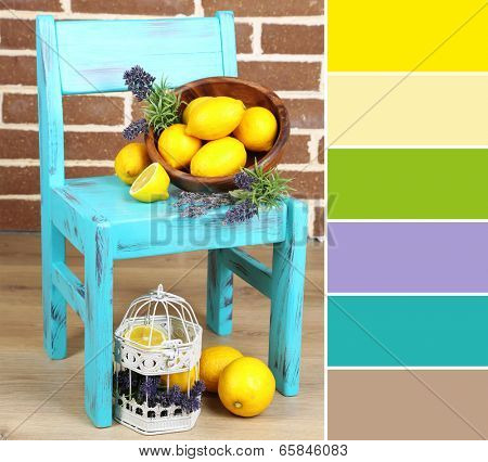 Still life with fresh lemons and lavender. Color palette with complimentary swatches