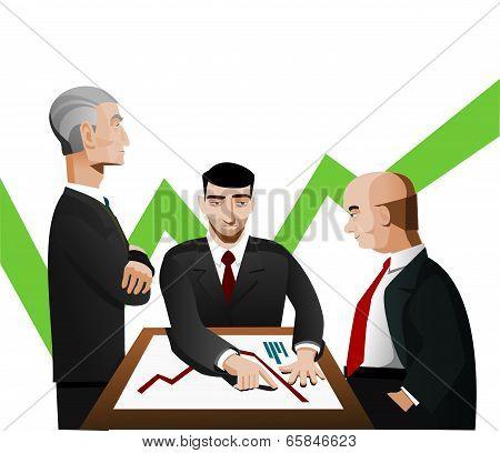 Three businessmen discussing diagram