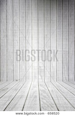 White Wood Planks With Floor