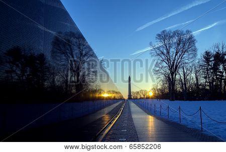 Washington, DC - Vietnam Memorial and Washington Monument at sunrise
