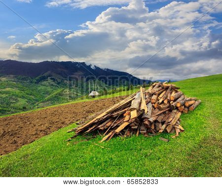 Lumber On Agriculture Field In Mountains