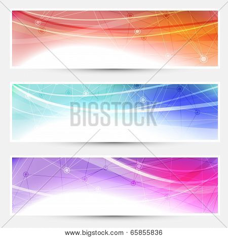 Collection web headers footers illustrating connection molecular medical concept. Vector illustration poster