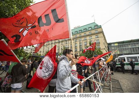 BERLIN, GERMANY - MAY 23, 2014: Rally against AfD is a centrist political party founded in 2013. Won 7 of Germany's 96 seats for European Parliament in May 2014 election.