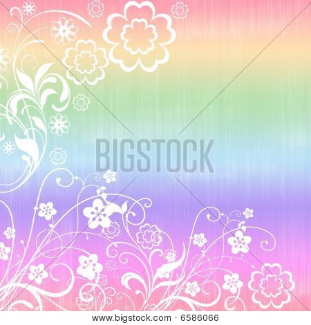 A background scrapbook page in 12x12 form, rainbow colors and flowers in white. poster