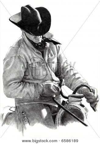 Pencil Drawing of Cowboy on Horse