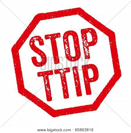 Red Stamp on a white background - Stop TTIP