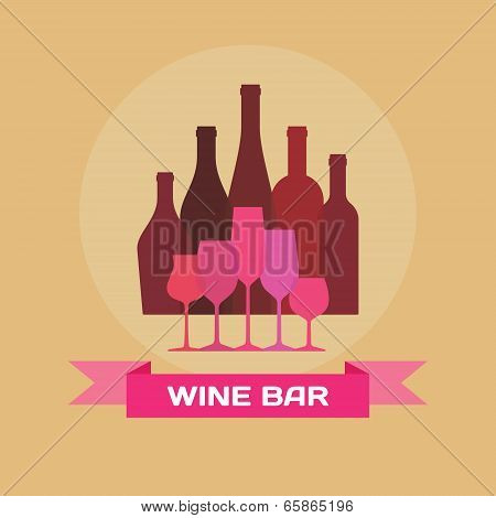 Wine Bottles and Glasses - Illustration for creative design projects.