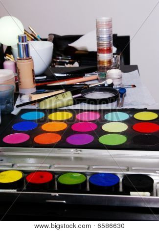 Grease Paint On Makeup Artist's Workplace
