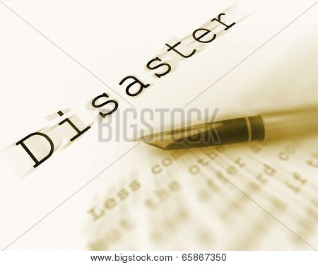 Disaster Word Displays Catastrophe Emergency Or Crisis