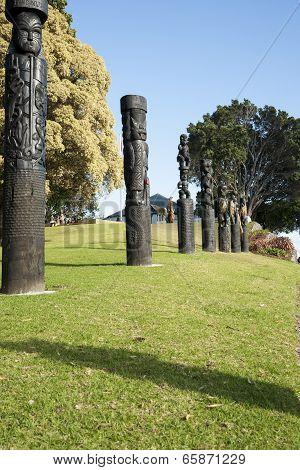 Maori pou or totem poles.