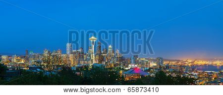 Downtown Seattle cityscape at night time as seen from the Kerry park poster